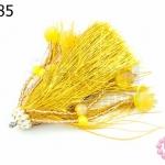พู่ไหมสีเหลืองทอง/หินตาแมวสีเหลือง (1ชิ้น)