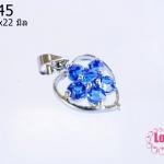 ตัวแต่งโรเดียม จี้ลูกปัด ตกแต่งสร้อยหินนำโชค รูปหัวใจล้อมเพชร สีน้ำเงิน 13x22 มิล (1ชิ้น)