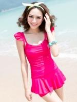 พร้อมส่ง ชุดว่ายน้ำวันพีซ สายเสื้อกล้ามแต่งระบายน่ารัก สีสันสดใส กระโปรงระบายด้านในเป็นแบบกางเกงขาสั้น
