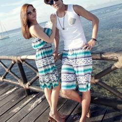PRE ชุดเดินหาดคู่รัก เดรส แต่งอกระบาย สายคล้องคอหรือผูกโบว์เป็นเกาะอก จั๊มเอว +กางเกงขาสั้นชาย หลายโบฮีเมียนสีสวย