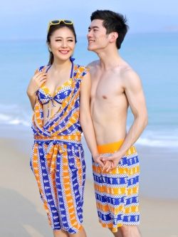 พร้อมส่ง ชุดว่ายน้ำคู่รัก ชุดว่ายน้ำบิกินี่เซ็ต 4 ชิ้น ลายสมอเรือสีส้มตัดน้ำเงินสวย พร้อมเสื้อคลุม กางเกงผ้าตาข่าย