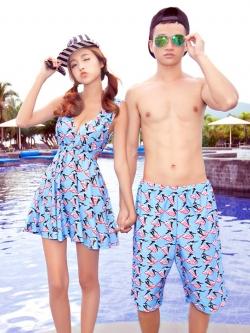 PRE ชุดว่ายน้ำคู่รัก หญิงเซ็ต 3 ชิ้น โทนฟ้า บรา กางเกงแต่งระบาย พร้อมชุดคลุมสวย