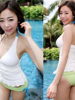 พร้อมส่ง ชุดว่ายน้ำ Tankini ตัวเสื้อยาวจับจีบเย็บย่นด้านข้าง กางเกงสีเขียวอ่อนสวยสไตล์เกาหลี