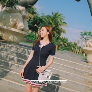 เดรสแฟชั่น เกาหลีวัยใส สีกรมท่า