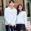 เสื้อกันหนาวคู่รักพร้อมส่ง แฟชั่นคู่รัก ชาย +หญิงเสื้อกันหนาวแบบสวม มีฮูด สีขาว แต่งลายใบไม้ thumbnail 9
