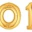 """ลูกโป่งฟอยล์รูปตัวเลข 2 สีทอง ไซส์จัมโบ้ 40 นิ้ว - Number 2 Shape Foil Balloon Size 40"""" Gold Color thumbnail 9"""