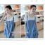 ชุดเอี๊ยมคลุมท้องผ้ายีนส์ มีสายหนังพาดบ่า : สีฟ้าอ่อน รหัส BM014 thumbnail 4