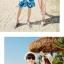 เสื้อคู่รัก ชุดคู่รักเที่ยวทะเลชาย +หญิง เสื้อยืดสีขาวลายคู่รักนอนตากแดด กางเกงขาสั้นลายแฉกโทนสีฟ้า +พร้อมส่ง+ thumbnail 7