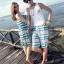 PRE ชุดเดินหาดคู่รัก เดรส แต่งอกระบาย สายคล้องคอหรือผูกโบว์เป็นเกาะอก จั๊มเอว +กางเกงขาสั้นชาย หลายโบฮีเมียนสีสวย thumbnail 1