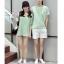 เสื้อคู่รัก ชายเสื้อยืดคอกลม + เสื้อตัวยาว สีเขียว แต่งลายริ้วเขียวขาว +พร้อมส่ง+ thumbnail 5