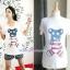 เสื้อพร้อมกางเกงคลุมท้อง รูปหมี ลายธงชาติอเมริกา รหัส SH023 thumbnail 1