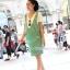 ชุดเอี๊ยมคลุมท้องผ้าคอตตอนลายขวาง มีเสื้อยืดคอวี : สีเขียว รหัส BM034 thumbnail 5