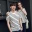 +พร้อมส่ง+ เสื้อคู่รักเกาหลี แฟชั่นคู่รัก ชายหญิง เสื้อยืดคอกลม ลายริ้ว สีดำสลับขาว thumbnail 2