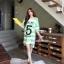 เสื้อคลุมท้องแขนสั้น ลายขวางสกีนเลขห้า : สีเขียว รหัส SH213 thumbnail 7