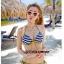 พร้อมส่ง ชุดว่ายน้ำบิกินี่ ชุดว่ายน้ำเซ็ต 3 ชิ้น สีกรมท่าสลับเส้นขาว แต่งขอบสีทองสวยๆ พร้อมกางเกงคลุม thumbnail 12