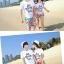 เสื้อคู่รัก ชุดคู่รักเที่ยวทะเลชาย +หญิง เสื้อยืดสีขาวลายแว่นตา กางเกงขาสั้นลายไทยโทนสีส้ม +พร้อมส่ง+ thumbnail 4