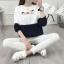 เสื้อแขนยาวแฟชั่นพร้อมส่ง เสื้อแขนยาวแต่งสีขาวสลับกรม แต่งสกรีน ฝูงแมว +พร้อมส่ง+ thumbnail 2