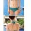 พร้อมส่ง ชุดว่ายน้ำบิกินี่ทูพีชสีเขียวเข้ม ที่บราและบิกินี่แต่งห่วงเหล็กสีทองฉลุลายสุดสวย thumbnail 4