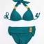 พร้อมส่ง ชุดว่ายน้ำบิกินี่ทูพีชสีเขียวเข้ม ที่บราและบิกินี่แต่งห่วงเหล็กสีทองฉลุลายสุดสวย thumbnail 8