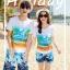 เสื้อคู่รัก ชุดคู่รักเที่ยวทะเลชาย +หญิง เสื้อยืดสีขาวลายคู่รักนอนตากแดด กางเกงขาสั้นลายแฉกโทนสีฟ้า +พร้อมส่ง+ thumbnail 3