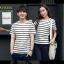 +พร้อมส่ง+ เสื้อคู่รักเกาหลี แฟชั่นคู่รัก ชายหญิง เสื้อยืดคอกลม ลายริ้ว สีดำสลับขาว thumbnail 5
