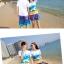 เสื้อคู่รัก ชุดคู่รักเที่ยวทะเลชาย +หญิง เสื้อยืดสีขาวลายคู่รักสวีทเที่ยวทะเล กางเกงขาสั้นลายมะพร้าวโทนสีฟ้า +พร้อมส่ง+ thumbnail 6