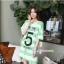 เสื้อคลุมท้องแขนสั้น ลายขวางสกีนเลขห้า : สีเขียว รหัส SH213 thumbnail 1