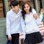 เสื้อกันหนาวคู่รักพร้อมส่ง แฟชั่นคู่รัก ชาย +หญิงเสื้อกันหนาวแบบสวม มีฮูด สีขาว แต่งลายใบไม้ thumbnail 1