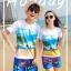 เสื้อคู่รัก ชุดคู่รักเที่ยวทะเลชาย +หญิง เสื้อยืดสีขาวลายคู่รักสวีทเที่ยวทะเล กางเกงขาสั้นลายมะพร้าวโทนสีฟ้า +พร้อมส่ง+ thumbnail 2