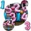 """ลูกโป่งฟอยล์รูปตัวเลข 2 สีชมพูพิมพ์ลายหัวใจ ไซส์จัมโบ้ 40 นิ้ว - Number 2 Shape Foil Balloon Size 40"""" Pink Color printing Heart thumbnail 3"""