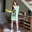 เสื้อคลุมท้องแขนสั้น ลายขวางสกีนเลขห้า : สีเขียว รหัส SH213 thumbnail 8