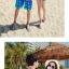 เสื้อคู่รัก ชุดคู่รักเที่ยวทะเลชาย +หญิง เสื้อยืดสีขาวลายคนติดเกาะ กางเกงขาสั้นลายต้นมะพร้าวโทนสีส้มฟ้า +พร้อมส่ง+ thumbnail 4