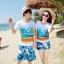 เสื้อคู่รัก ชุดคู่รักเที่ยวทะเลชาย +หญิง เสื้อยืดสีขาวลายคู่รักนอนตากแดด กางเกงขาสั้นลายแฉกโทนสีฟ้า +พร้อมส่ง+ thumbnail 1