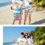 เสื้อคู่รัก ชุดคู่รักเที่ยวทะเลชาย +หญิง เสื้อยืดสีขาวลายคนติดเกาะ กางเกงขาสั้นลายไทยโทนสีส้ม +พร้อมส่ง+ thumbnail 4