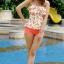ชุดว่ายน้ำสีส้มโอรส กางเกงขาสั้น เสื้อแต่งระบายที่อก ลายเบอร์รี่สีสันสวยสด thumbnail 1