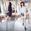 เดรส/เสื้อตัวยาวแฟชั่นเกาหลี ลายทาง ตัวเสื้อทรงเชิตเก๋ ๆ สีขาว thumbnail 7