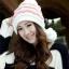 หมวกไหมพรมแฟชั่นเกาหลีพร้อมส่ง ทรงดีไซต์เก๋ แต่งลายสีขาวสลับชมพู มีจุกด้านข้าง thumbnail 1