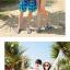เสื้อคู่รัก ชุดคู่รักเที่ยวทะเลชาย +หญิง เสื้อยืดสีขาวลายคนติดเกาะ กางเกงขาสั้นลายต้นมะพร้าวโทนสีส้มฟ้า +พร้อมส่ง+ thumbnail 3