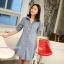 เสื้อเชิ้ตคลุมท้องคอปก แขนยาว : สีฟ้าอ่อน รหัส CK100 thumbnail 4