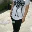 กางเกงฮาเร็มคลุมท้อง ขาขาว : สีดำ รหัส PN111 thumbnail 7