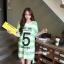 เสื้อคลุมท้องแขนสั้น ลายขวางสกีนเลขห้า : สีเขียว รหัส SH213 thumbnail 11
