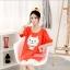 เสื้อคลุมท้องแขนสั้น ลายแมวยิ้มติดโบว์ White Cat : สีส้ม รหัส SH190 thumbnail 5