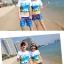 เสื้อคู่รัก ชุดคู่รักเที่ยวทะเลชาย +หญิง เสื้อยืดสีขาวลายคู่รักสวีทเที่ยวทะเล กางเกงขาสั้นลายมะพร้าวโทนสีฟ้า +พร้อมส่ง+ thumbnail 4