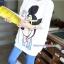 เสื้อคลุมท้องแขนสั้น ลาย Mickey Mouse ใส่แว่น : สีขาว รหัส SH215 thumbnail 9