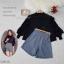 เสื้อผ้าแฟชั่นพร้อมส่ง - เซ็ตได้ 2 ชิ้น เสื้อคอจีนแขนยาวผ้าชีฟองเนื้อทรายผ่าอกติดกระดุม + กางเกง สีดำ thumbnail 3