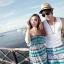 PRE ชุดเดินหาดคู่รัก เดรส แต่งอกระบาย สายคล้องคอหรือผูกโบว์เป็นเกาะอก จั๊มเอว +กางเกงขาสั้นชาย หลายโบฮีเมียนสีสวย thumbnail 4