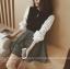 เสื้อแฟชั่นเกาหลีแขนยาว เย็บแต่งแขนด้วยผ้าชิฟฟอนสีขาว คอกลม สุภาพ thumbnail 6