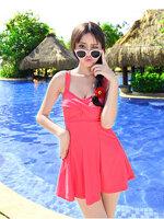 พร้อมส่ง ชุดว่ายน้ำวันพีซทรงแซก สีชมพูอมแดง watermelon color สายเสื้อกล้าม (ใต้กระโปรงเป็นทรงบิกินี่)