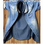 เสื้อเชิ้ตแขนสั้นยีนส์ แต่งแขนคอลายดอก สีฟ้า น้ำเงิน No.36 38 40 42
