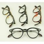 กรอบแว่นตาแฟชั่น เรโทร วินเทจ แบบกลม แนวmos สีดำเงา ดำด้าน สีกระ น่ำตาล)